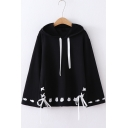 Cartoon Cat Fish Print Hem Bell Sleeve Fashion Lace-Up Side Loose Drawstring Hoodie