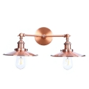 2 Heads Armed Lighting Fixture with Flared Shade Vintage Retro Metallic Wall Lamp in Copper