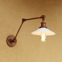 Shallow Round Flared Wall Lighting Loft Style White Glass Shade Adjustable 1 Light Sconce Light in Rust