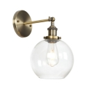 Modernism Armed Wall Light with Spherical Shade Clear Glass 1 Head Art Deco Wall Sconce in Bronze