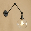 Black Finish Orb Wall Lighting with Adjustable Arm Industrial Clear Glass Single Light Wall Lamp