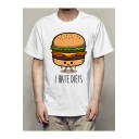 Funny Cartoon Hamburger Letter I HATE DIETS Print Short Sleeve Men's White Casual Tee