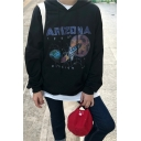 Retro Letter Moon Rocket Printed Long Sleeve Black Loose Fitted Pullover Hoodie