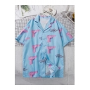 Summer Holiday Beach Fashion Letter Gun Print Notched Lapel Collar Short Sleeve Sky Blue Button Shirt