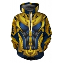 Awesome 3D Print Long Sleeve Casual Loose Yellow Cosplay Hoodie with Pocket