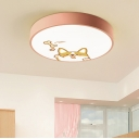 Round LED Flushmount with Cartoon Puppy Design Pink Metallic Ceiling Light for Girls Bedroom