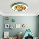 Wood Circular Ring Flushmount with Moon and Star Baby Kids Room LED Ceiling Light in Gray/Green/White