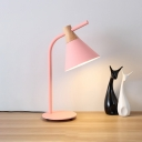 Pink/Yellow Cone Desk Light Macaron Modern Metal 1 Light Plug In Table Light for Study Room