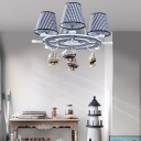 Checkered Design Chandelier with Sailboat Boys Bedroom Fabric Shade 4 Lights Hanging Lamp in Chrome