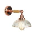 Rose Gold Dome Wall Lighting Modernism Swirl Glass Single Light Wall Lamp for Bedroom