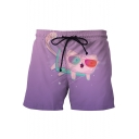 Summer Purple Cute Cartoon Cat Print Drawstring Waist Men's Beach Swim Trunks