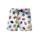 Stylish 3D Insect Printed Drawstring Waist Summer White Casual Swim Trunks for Men