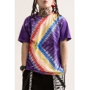 Cool Purple Tie Dye Graffiti Print Hip Hop Fashion Casual T-Shirt