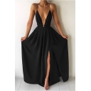 Women's Sexy Plunge Neck Sleeveless Split Front Plain Maxi Chiffon Flared Cami Dress