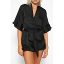 Sexy V-Neck Bow Tied Waist Fashion Ruffled Hem Plain Satin Rompers for Women