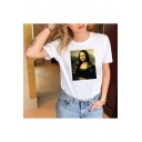 Mona Lisa Painting Print Short Sleeve Crew Neck White Casual T-Shirt