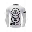 Fashionable Skull Print Round Neck Long Sleeve Quick Drying White Training Athletic T-Shirt for Men