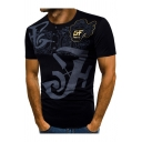 Men's Stylish Letter Printed Button Round Neck Short Sleeve Slim Henley Shirt