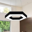 Hollow Hexagon LED Hanging Light Black Modern Style Acrylic Chandelier in Warm/White Light