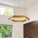 Metal Hexagon LED Pendant Light Simple Gold Finish Chandelier Lights for Living Room Bedroom Office