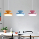 Nordic Style Circle Pendant Lights Metal and Acrylic Hanging Light for Kids Room