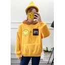 Fresh Long Sleeve Face Smile Letter Pattern Relaxed Hoodie