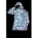 New Arrival Long Sleeve Zebra Pattern Zip Placket Reflective Gray Coat