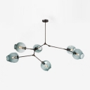 Branching Hanging Light Simple Modern Faded Glass 6 Light Decorative Ceiling Light in Black