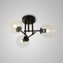 3 Light Bubble Semi Flush Mount Light Simple Clear Glass Ceiling Light in Black
