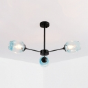 3 Light Branch Ceiling Lamp Industrial Simple Blue Glass Hanging Lamp for Living Room