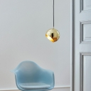 Gold Half Round Ceiling Lamp Luxuriant Concise Metal Pendant Light for Living Room