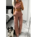 Popular Short Sleeve Round Neck Cropped Elastic Waist Straight Pants Plain Woolen Co-ords