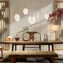 Gold Finish Moon Hanging Light Post Modern Style Restaurant Cafe Resin Pendant Lamp in White