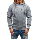 Men Popular Fashion Multi-Way Zip Embellished Long Sleeve Sloping Zip Up Heather Grey Regular Fitted Hoodie