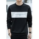 Stylish Letter Patchwork Front Long Sleeve Crewneck Relaxed Pullover Sweatshirt