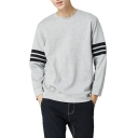 Classic Trendy Striped Print Long Sleeve Crewneck Casual Relaxed Pullover Sweatshirt