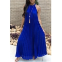 Summer New Arrival Sleeveless Halter Plain Maxi Pleated Dress