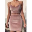 Sexy Hot V Neck Sleeveless Plain Cropped Top Elastic Waist Skirt Velvet Co-ords
