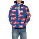 Men's Stylish Fashion 3D All Over Red Lip Printed Long Sleeve Chunky Blue Hoodie