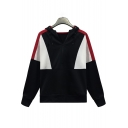 Half Zip Front Colorblock Leisure Long Sleeve Black Hoodie