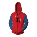3D Colorblock Spider Printed Long Sleeve Zip Front Red Drawstring Hoodie