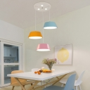 Macaron Multicolored Drum LED Pendant Light Metal 3 Light Pendant Fixture for Kids Room