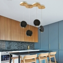 Contemporary Round Suspension Light Wood 4 Light Lighting Fixture in Black for Dining Table
