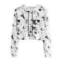 White Graffiti Pattern Long Sleeve Stylish Fashion Cropped Drawstring Hoodie