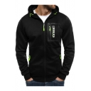 Men's New Fashion Contrast Zip-Embellished Sports Fitted Full Zip Hoodie