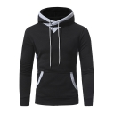 Men's Basic Slim Contrast Trim Patched Elbow Kangaroo Pocket Fitted Hoodie