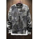 Men's Cool Camo Print Fading Frayed Detail Patchwork Hem Crewneck Relaxed Fit Pullover Sweatshirt