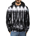 Unique 3D Stone Pattern Long Sleeve Loose Casual Black Hoodie for Men