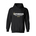 Stylish Unique Crown Letter NOTORIOUS Print Loose Casual Chunky Graphic Hoodie