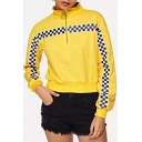 Fashion Checkboard Printed Half-Zip Stand Collar Loose Fit Yellow Sweatshirt
